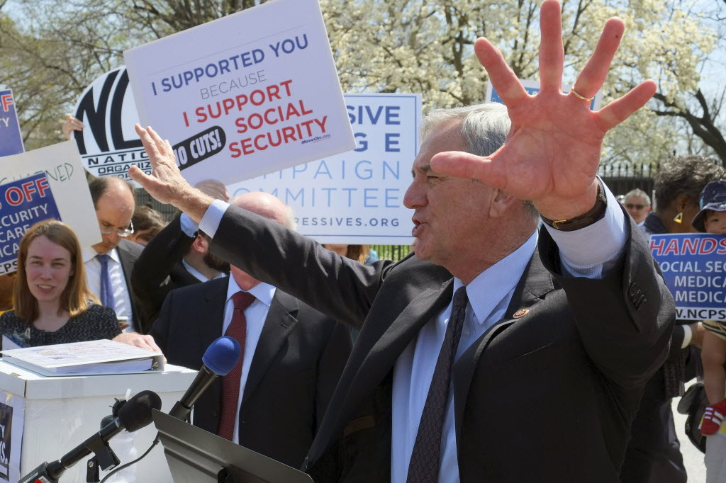 Liberal lawmakers and other supporters of Social Security protested outside the White House when President Barack Obama proposed in his budget a change that would result in smaller increases in future Social Security benefits.
