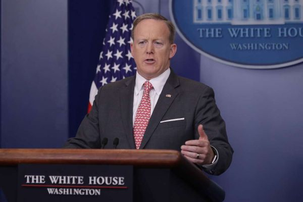 White House Press Secretary Sean Spicer answers reporters' questions during the daily press briefing at the White House April 17, 2017. (Chip Somodevilla/Getty Images)