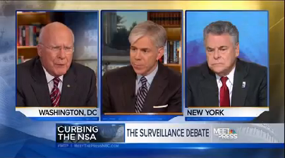 "Sen. Patrick Leahy, D-Vt., and Rep. Peter King, R-N.Y., debated the NSA surveillance program Sunday on NBC's ""Meet the Press."""
