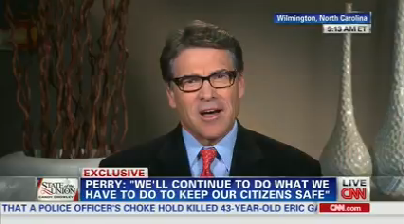"Texas Gov. Rick Perry appeared on CNN's ""State of the Union"" on Aug. 3, 2014."