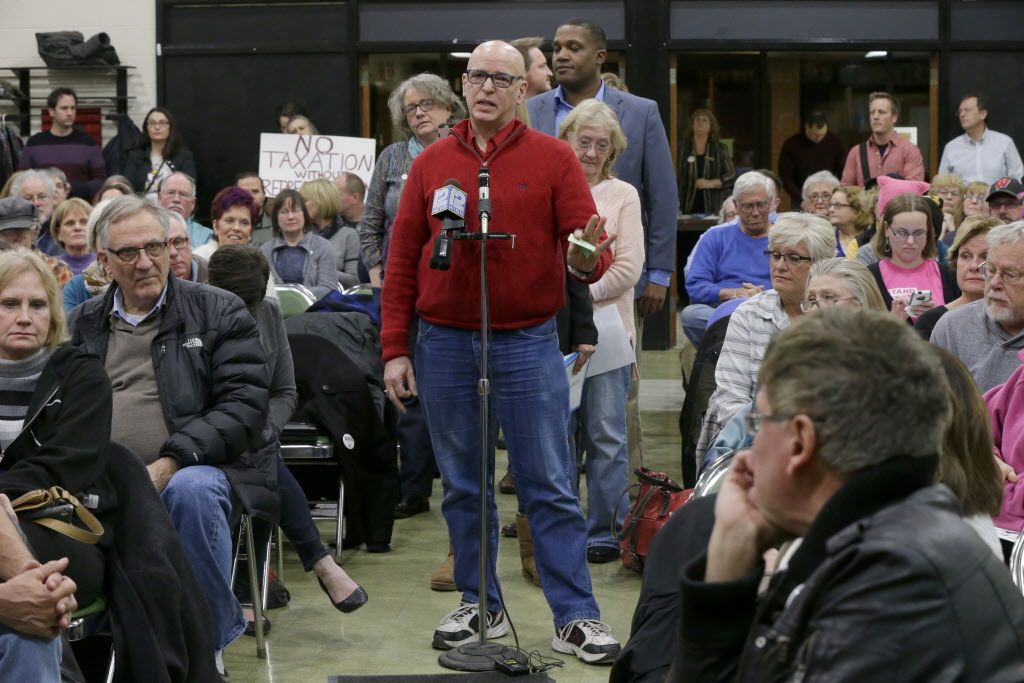 "Residents of Ryan's congressional district speak at a ""town hall"" meeting organized by the group Forward Kenosha in February 2017. Ryan did not attend the event. (Mike De Sisti/Milwaukee Journal Sentinel)"