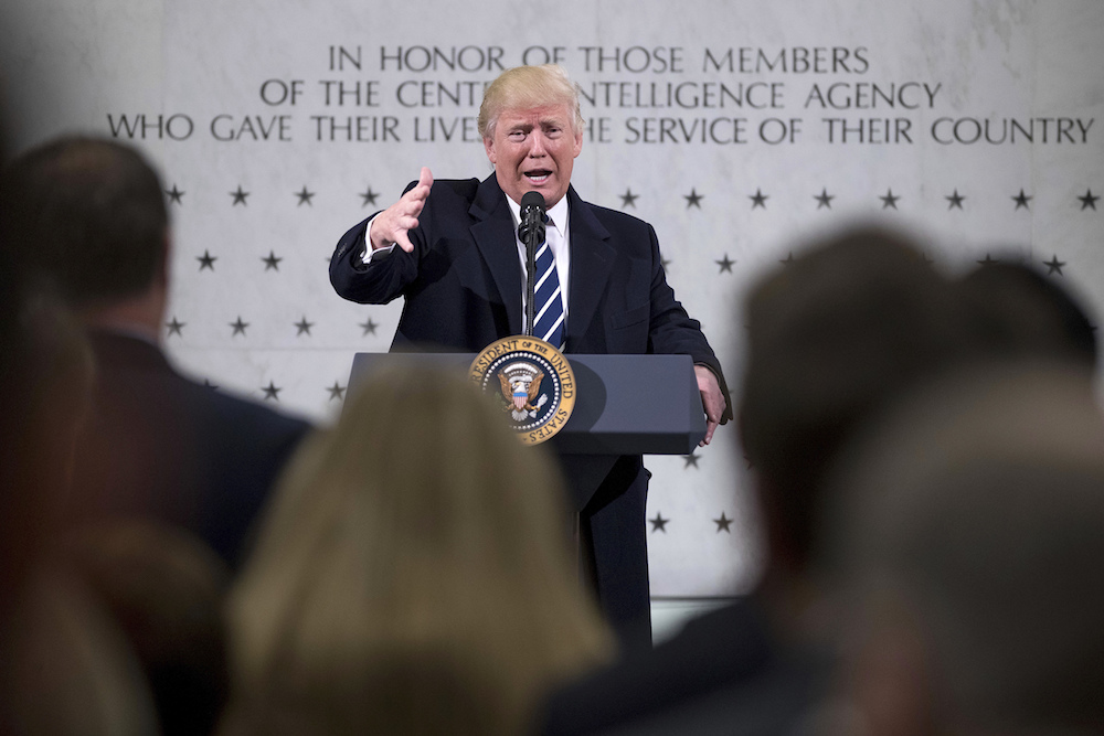 President Donald J. Trump visits the CIA on Jan. 21, 2017. (AP Photo)