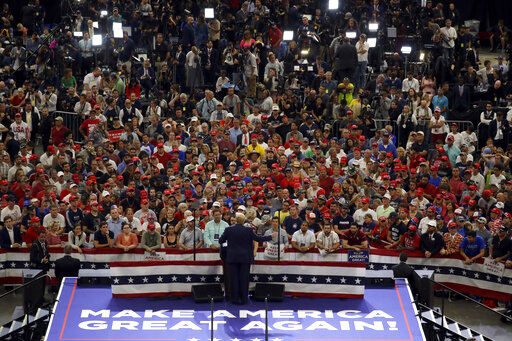 President Donald Trump speaks during his re-election kickoff rally in Orlando Fla