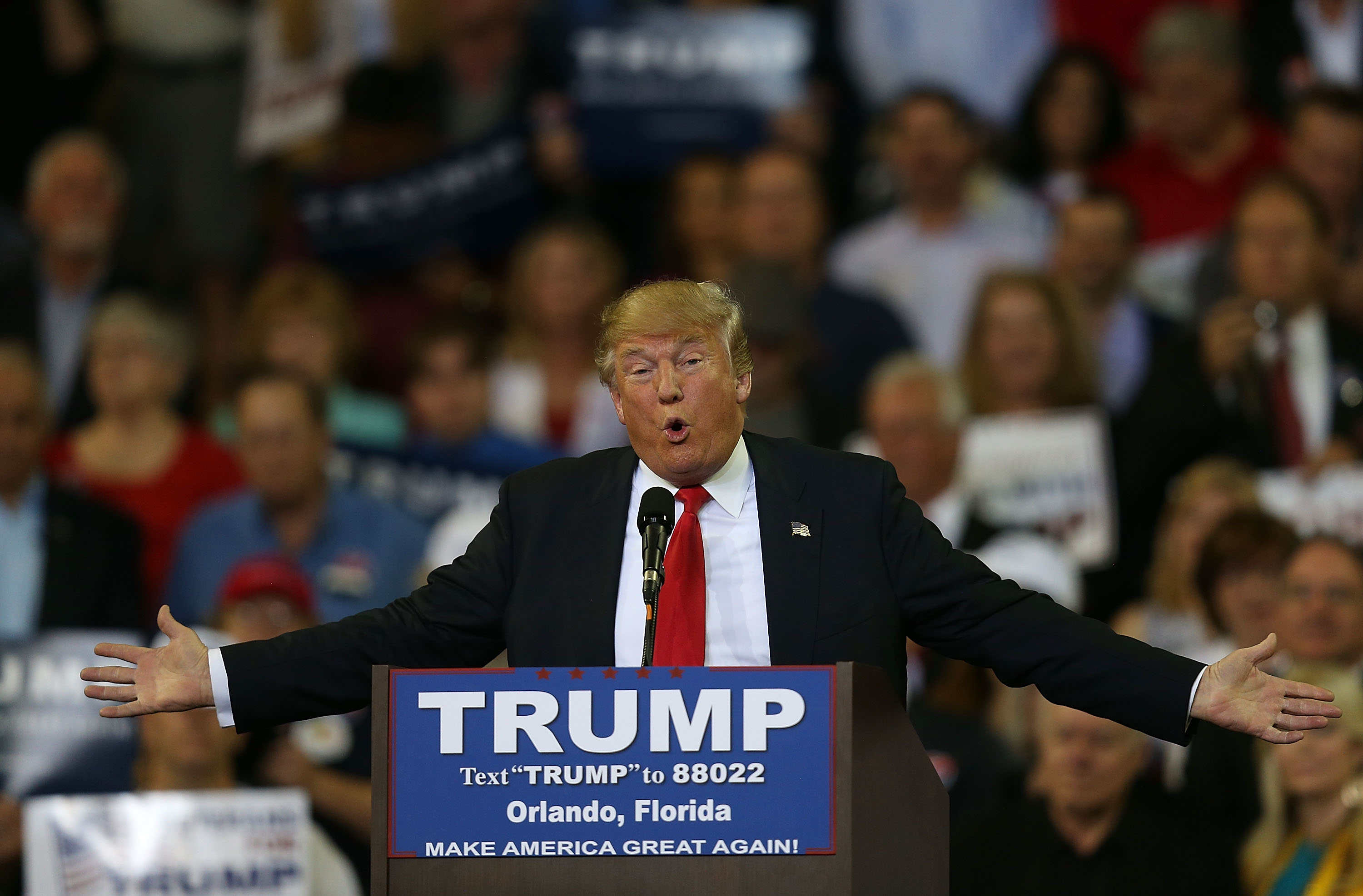 Republican front runner Donald Trump speaks at the University of Central Florida. Trump has been defending his defunct Trump University, saying it has an A rating from the Better Business Bureau. (Getty Images)