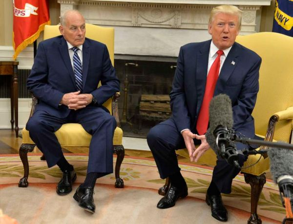 President Donald Trump speaks to the press after the new White House Chief of Staff, John Kelly, was sworn in at the White House on July 31, 2017. (Mike Theiler-Pool/Getty Images)