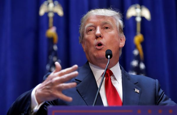 Donald Trump gestures as he announces that he will seek the Republican nomination for president on June 16, 2015, in New York. (AP/Richard Drew)