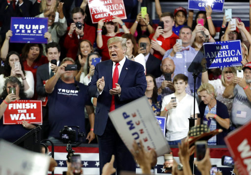 President Donald Trump greets supporters at a rally in Johnson City, Tenn. (AP)