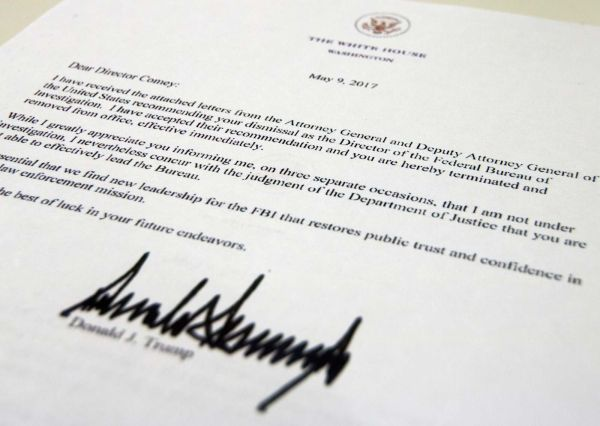 The termination letter from President Donald Trump to FBI Director James Comey is photographed in Washington, May 9, 2017. (AP Photo/Jon Elswick)
