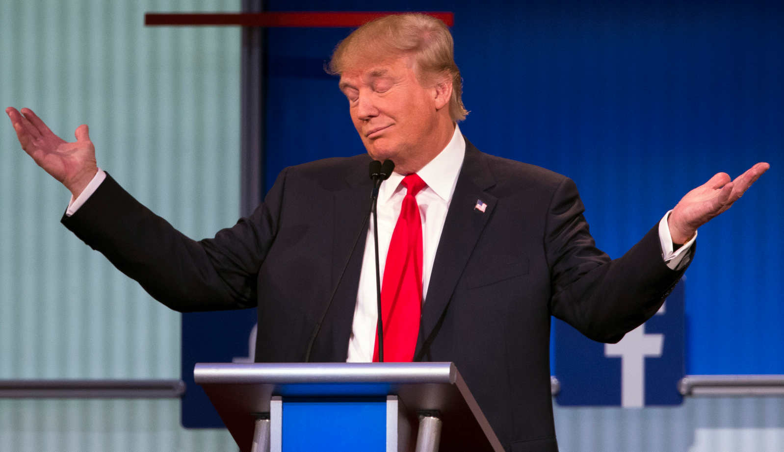 Republican presidential candidate Donald Trump gestures during the first Republican presidential debate in Cleveland, Ohio. (AP)