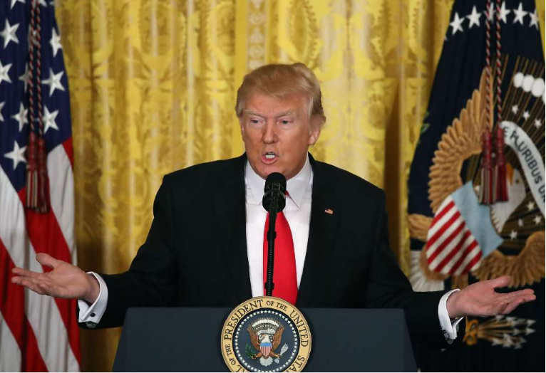 President Donald Trump speaks during a news conference announcing Alexander Acosta as the new Labor Secretary nominee. (Getty Images)
