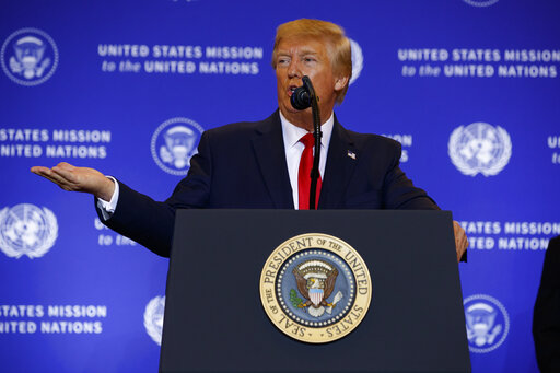 President Donald Trump speaks during a news conference at the InterContinental Barclay New York hotel during the United Nations General Assembly, Wednesday, Sept. 25, 2019, in New York. (AP)