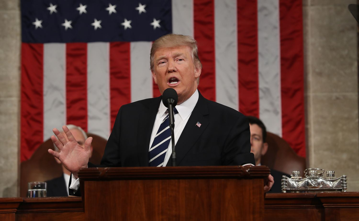 U.S. President Donald Trump addresses a joint session of the U.S. Congress on February 28, 2017.