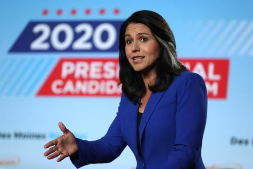 Democratic presidential candidate U.S. Rep. Tulsi Gabbard (D-HI) speaks during the AARP and The Des Moines Register Iowa Presidential Candidate Forum on July 17, 2019 in Cedar Rapids, Iowa. (Getty Images)