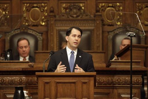 Gov. Scott Walker addressing legislators on his biennial budget on Feb. 20, 2013