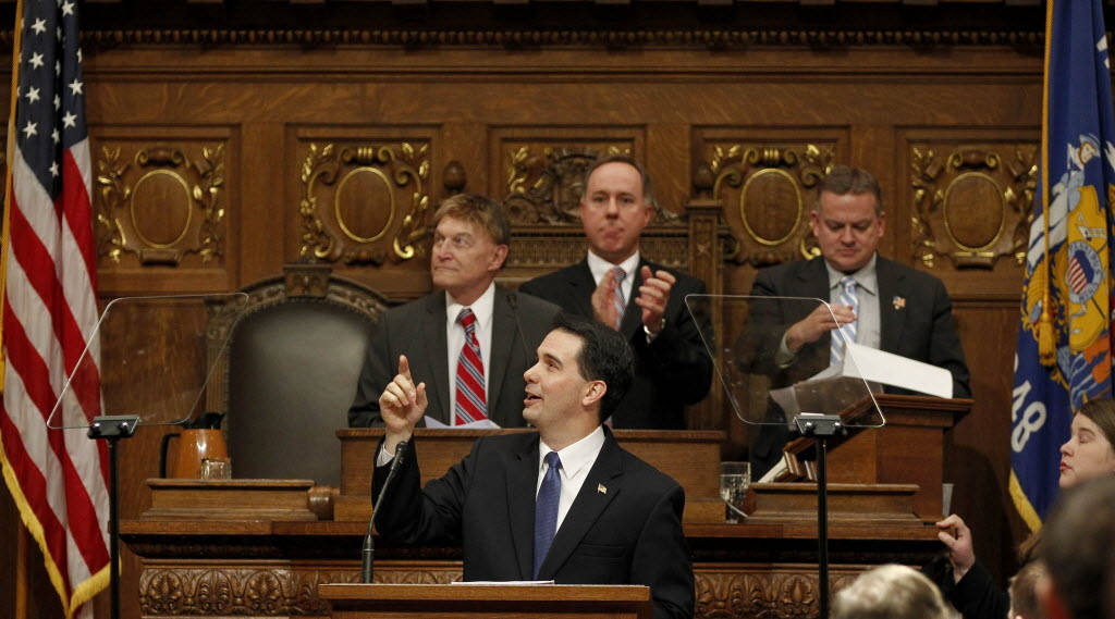 Gov. Scott Walker (center front) acknowledges the gallery during his State of the State address on Jan. 15, 2013.