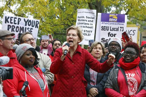 Democratic presidential candidate Elizabeth Warren with striking Chicago teachers. Her $800 billion public schools plan relies on funds from her 2% wealth tax. (AP Photo/Teresa Crawford)