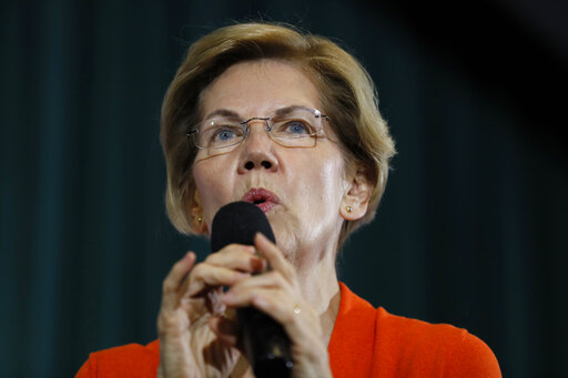 Democratic presidential candidate Sen. Elizabeth Warren, D-Mass., speaks during a town hall meeting at Grinnell College in Grinnell, Iowa. (AP Photo/Charlie Neibergall)