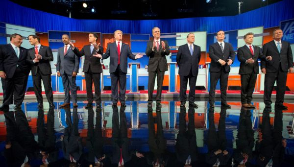 Republican presidential candidates from left, Chris Christie, Marco Rubio, Ben Carson, Scott Walker, Donald Trump, Jeb Bush, Mike Huckabee, Ted Cruz, Rand Paul, and John Kasich at the first Republican presidential debate in Cleveland on Aug. 6, 2015. (AP)