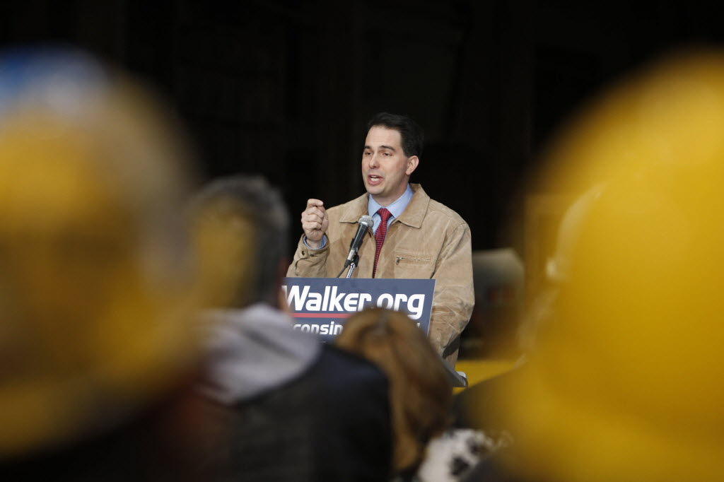 First-term Gov. Scott Walker is facing a recall election this summer. He is shown here launching his campaign.