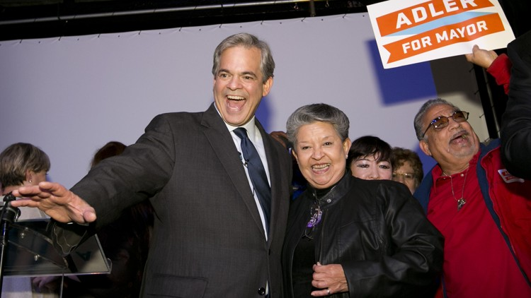 Steve Adler, shown here celebrating his win for Austin mayor in December 2014, made a homestead exemption promise newly rated as a Promise Broken on the PolitiFact Texas Adler-O-Meter (Jay Janner, Austin American-Statesman).