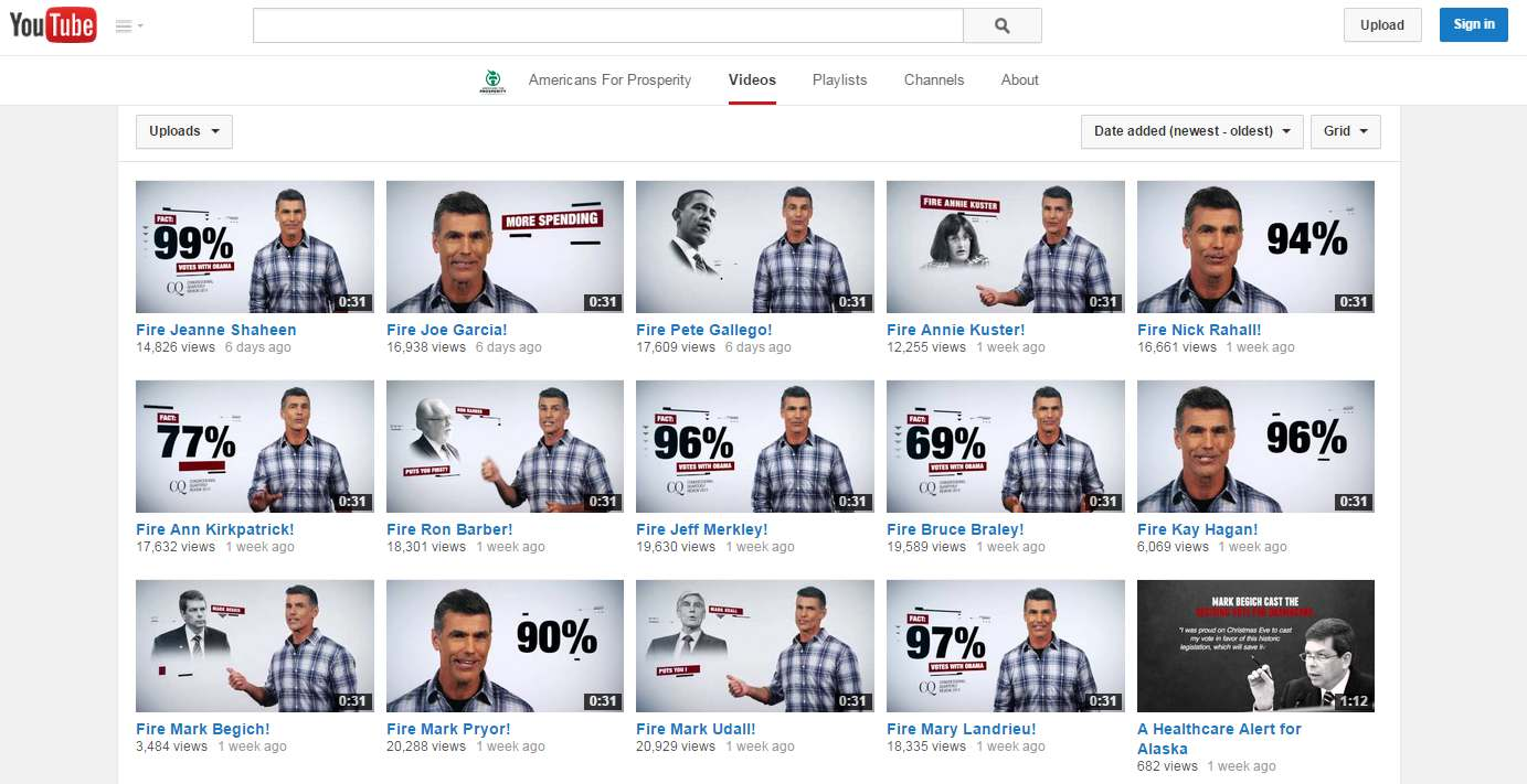 Conservative political action committee Americans for Prosperity released 14 identical videos attacking Democrats for how often their votes in Congress lined up with President Barack Obama.