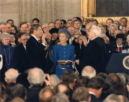 Ronald Reagan's 1985 inauguration took place in the rotunda of the U.S. Capitol. (U.S. Senate Photo Studio)