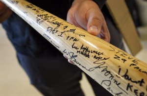 It's Lee Leffingwell's autograph on this bat, which was not part of his inaugural fact check by PolitiFact Texas.