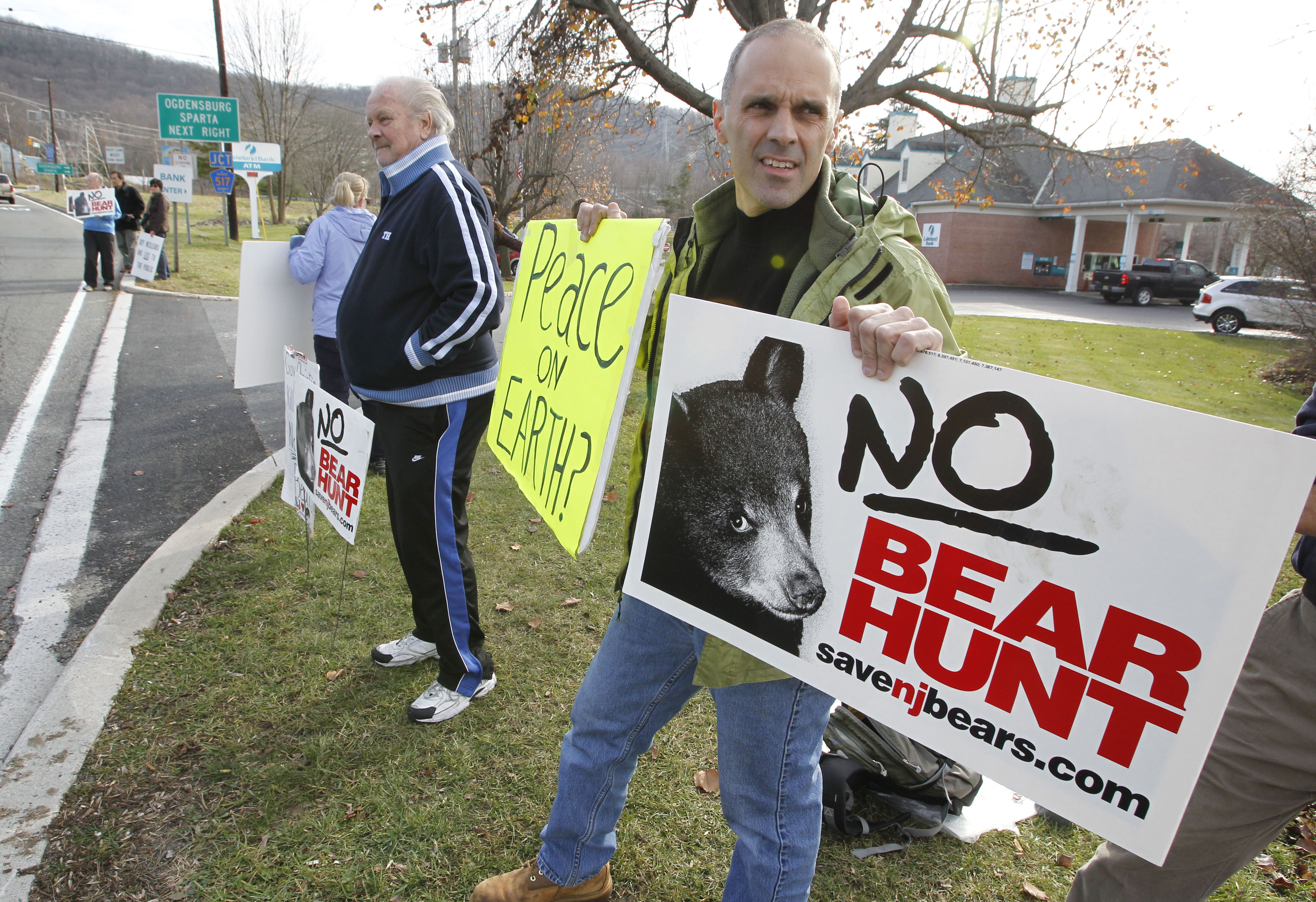 A recent Pants on Fire ruling about hunting in New Jersey sparked angry responses from some animal activists. Pictured above are other activists protesting the state's bear hunt.