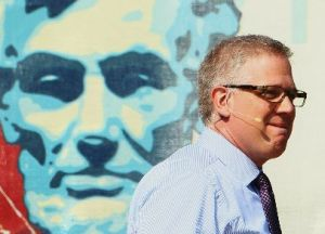 "Glenn Beck pauses during the ""Restoring Honor"" rally in front of the Lincoln Memorial on Aug. 28, 2010, in Washington, DC"