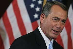 House Speaker John Boehner speaks outside the White House on Friday following a meeting with President Barack Obama.