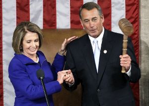 Rep. Nancy Pelosi turns over the gavel to the new House Speaker, Rep. John Boehner.