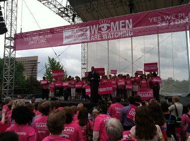 Newark Mayor Cory Booker took aim at Gov. Chris Christie at a Planned Parenthood rally during the Democratic National Convention.