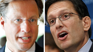 College professor Dave Brat, left, is challenging U.S. Rep. Eric Cantor in the 7th District Republican primary today.