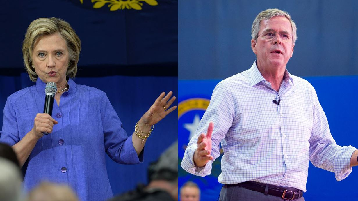 Left: Democratic presidential candidate Hillary Clinton hosts an event in New Hampshire Aug. 10. (Darren McCollester/Getty Images)  Right: Former Florida Gov. Jeb Bush speaks  in Nevada Aug. 12, 2015. (Steve Marcus/Las Vegas Sun via AP)