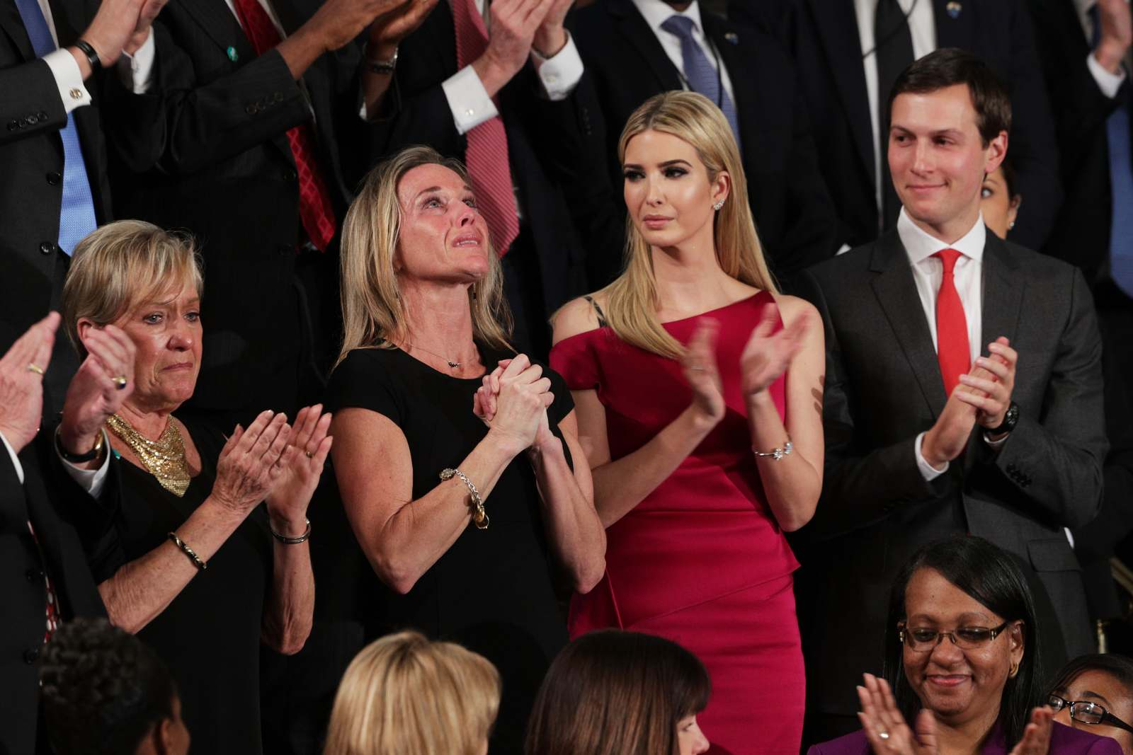 Widow of fallen Navy Seal William Owens, Carryn Owens, Ivanka Trump and White House senior adviser Jared Kushner attend a joint session of Congress with President Donald Trump on Feb. 28, 2017. (Photo by Alex Wong/Getty Images)