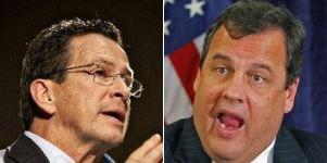 Connecticut Gov. Dannel Malloy, left, and New Jersey Gov. Chris Christie have been critical of each other's policies.