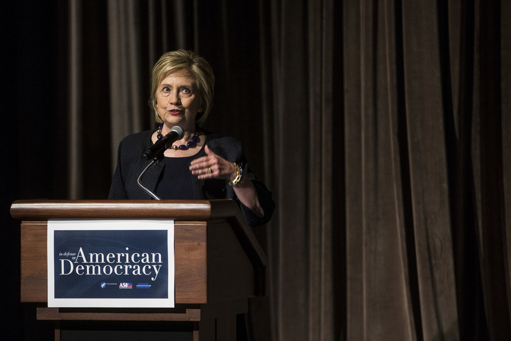 Former Secretary of State Hillary Clinton delivers a keynote speech during the American Federation of Teachers Shanker Institute Defense of Democracy Forum at George Washington University on September 17, 2019 in Washington, DC.  (Getty Images)