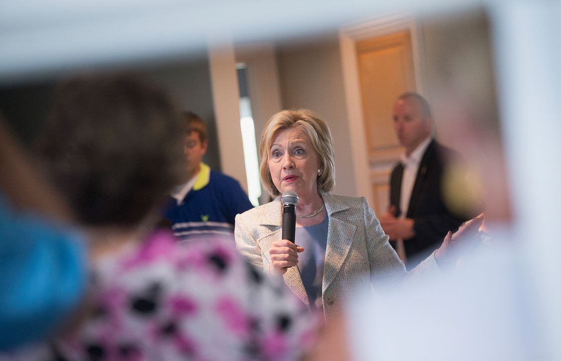 Democratic presidential hopeful Hillary Clinton speaks to guests gathered for a house party on July 26, 2015 in Carroll, Iowa. (Photo by Scott Olson/Getty Images)