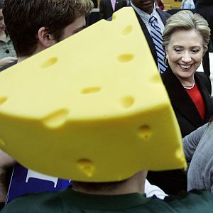 Last week, politics got cheesey at PolitiFact Georgia. But not as cheesy as it did in this photo from the 2008 Democratic presidential primaries.