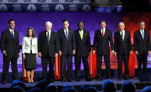 Republican presidential candidates Rick Santorum, left, Michele Bachmann, Newt Gingrich, Mitt Romney, Herman Cain, Rick Perry, Ron Paul and Jon Huntsman debated Wednesday night at Oakland University in Michigan.