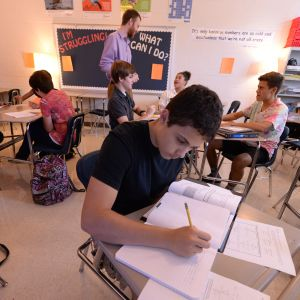 A student completes a Common Core math lesson in an analytical geometry class at Marietta High School on Aug. 20, 2013. Georgia adopted the Common Core standards in 2010. (AJC photo/Johnny Crawford)