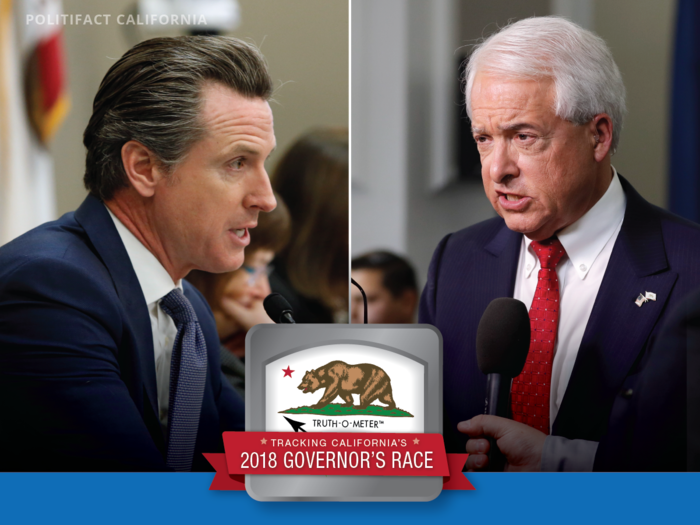 Democrat Gavin Newsom and Republican John Cox are competing for California governor. Graphic by PolitiFact California.