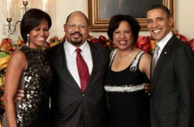 The chain emails PolitiFact Texas received included this photo, which FactCheck.org wrote shows Toni Townes-Whitley and her husband, John Whitley, with Michelle and President Barack Obama at a 2010 White House party.