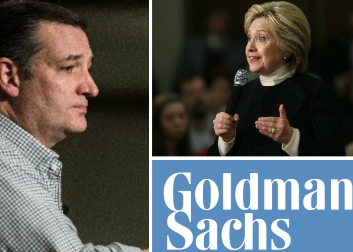 Ted Cruz and Hillary Clinton have Goldman Sachs in common -- or so critics say (Associated Press photos).