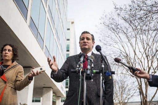 "Sen. Ted Cruz, R-Texas, makes his call for patrolling ""Muslim neighborhoods"" in Washington, D.C., March 22, 2016 (New York Times photo)."