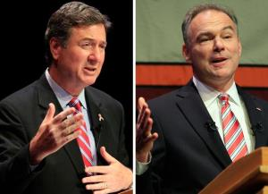 Republican George Allen, left, and Democrat Tim Kaine have voiced little agreement on tax and spend issues.