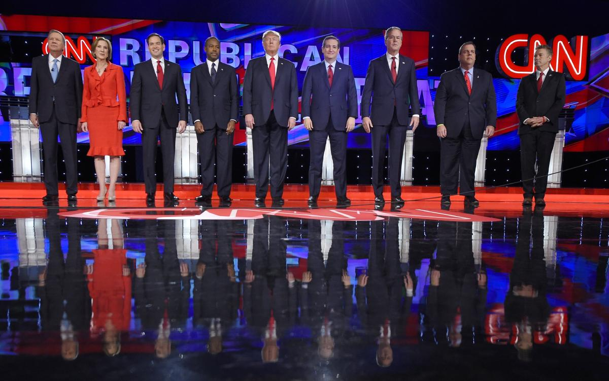 Republican presidential candidates, from left, John Kasich, Carly Fiorina, Marco Rubio, Ben Carson, Donald Trump, Ted Cruz, Jeb Bush, Chris Christie, and Rand Paul take the stage during the CNN Republican presidential debate in Las Vegas. (AP)