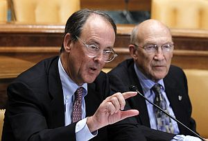 Erskine Bowles, left, and Alan Simpson, co-chairs of the president's fiscal commission, discuss ideas to reduce the national debt.