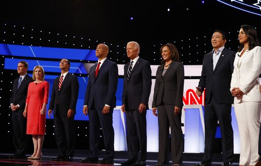 Democratic presidential candidates are introduced before the second of two primary debates hosted by CNN on July 31, 2019, in Detroit. (AP/Osorio)
