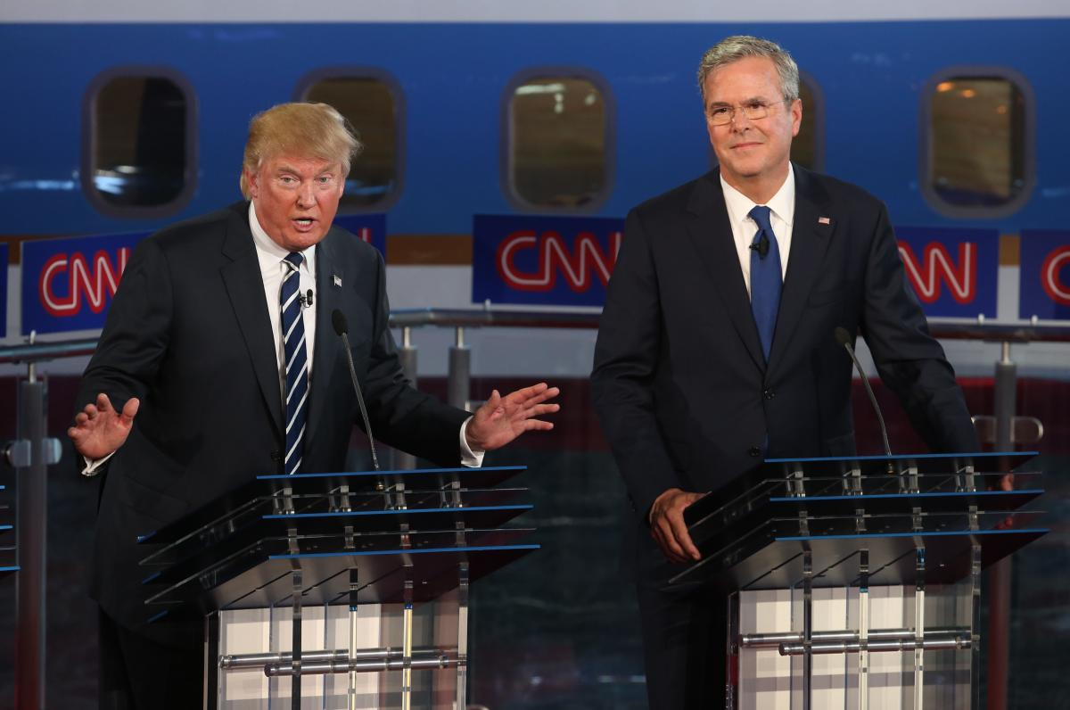 GOP candidates Donald Trump and Jeb Bush discuss immigration challenges at the Ronald Reagan Presidential Library in Simi Valley, Calif., on Sept. 16, 2015, at the second GOP presidential debate. (Getty)